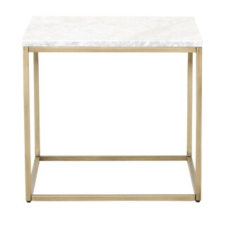 Chic End Table with White Marble Top, Brushed Gold
