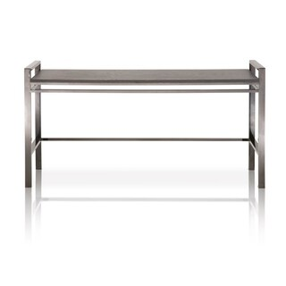 Metal Base Sofa Table With Wooden Top Black Wash