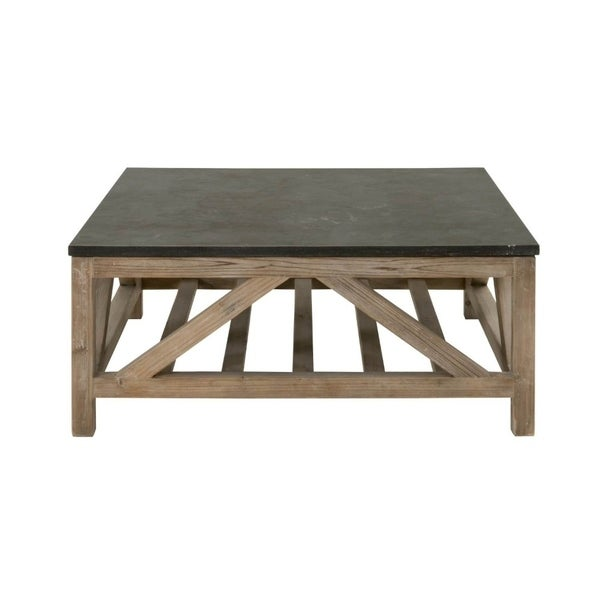 Slatted Wooden Coffee Table With Stone Top, Black & Brown