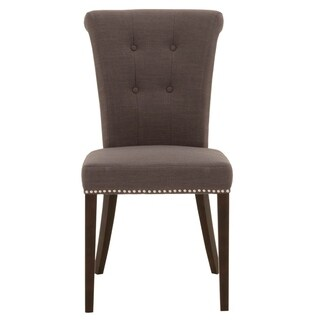 Wood Fabric Dining Chair With Button Tuftings And Nailhead Details, Brown (Set of 2)