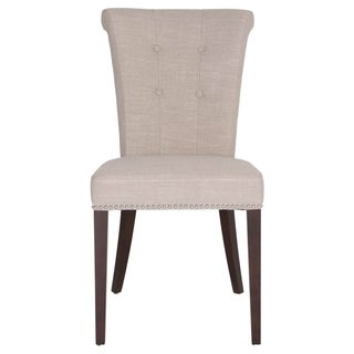 Wood Fabric Dining Chair With Button Tuftings And Nailhead Details, Gray (Set of 2)