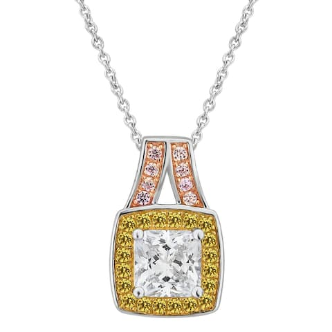 Divina Sterling Silver Created White, Yellow and Pink Cubic Zirconia Fashion Pendant