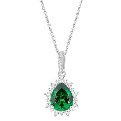 Divina Sterling Silver Created Green and White Sapphire Cubic Zirconia Fashion Pendant