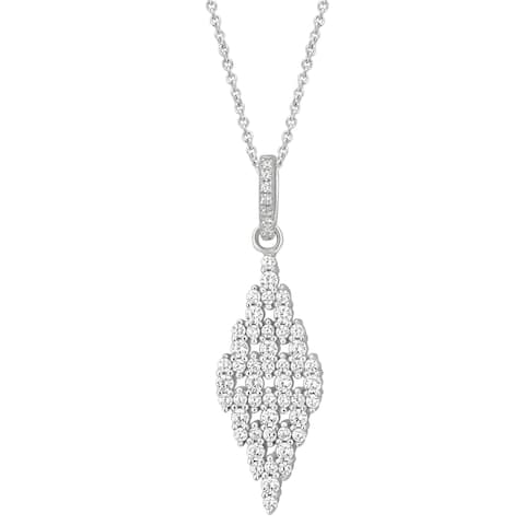 Divina Sterling Silver Created White Cubic Zirconia Fashion Pendant