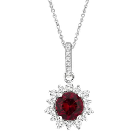 Divina Sterling Silver Created Ruby and White Cubic Zirconia Fashion Pendant