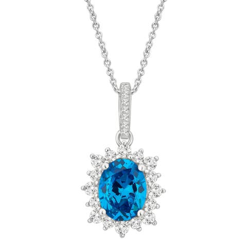 Divina Sterling Silver Created Blue and White Sapphire Cubic Zirconia Fashion Pendant