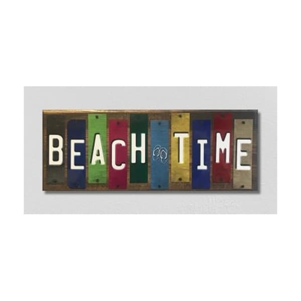 Smart Blonde WS-055 Beach Time License Plate Strip Novelty Wood Sign
