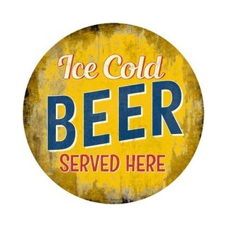 Smart Blonde C-848 Ice Cold Beer Served Here Novelty Metal Circular Sign