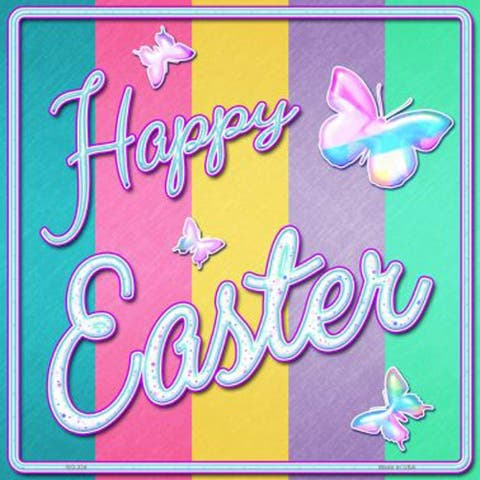 Smart Blonde SQ-324 Aluminum Happy Easter with Butterflies Novelty Square Sign