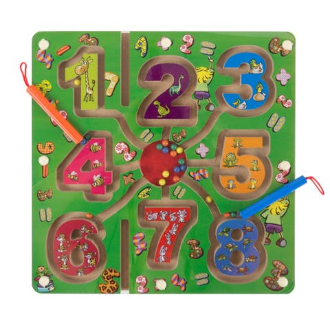 Wooden Number Maze-Colorful Zoo Animal Toy with 2 Magnet Pens by Hey! Play!