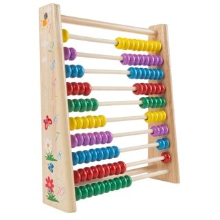Wooden Abacus-Classic and Colorful Childrens Math and Counting Toy with Free-Standing Frame and 100 Beads Hey! Play!