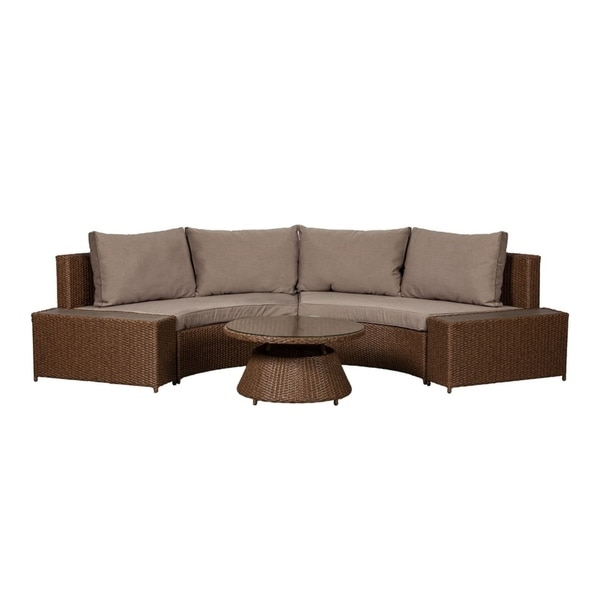 9b1087cf65b68 Shop WT Living Webster All Weather Resin Wicker Sectional Set in Mocha  Finish - Free Shipping Today - Overstock - 22822039