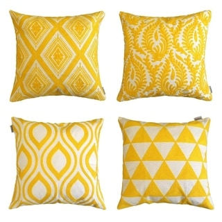 Embroidered Pillow Covers Decorative Cushion Covers 18 x 18 inch, Gold