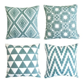 Embroidered Pillow Covers Decorative Cushion Covers 18 x 18 inch, Teal