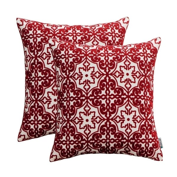Shop Wine Red Embroidered Pillows Covers For Couch Sofa Bed 18 X 18