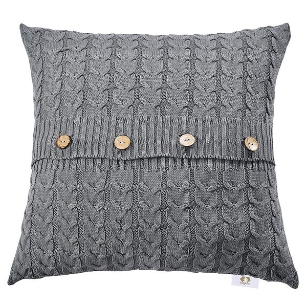 Shop Double Cable Knit Throw Pillow Covers Knitted Throw Pillows