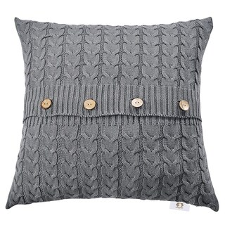 Double Cable Knit Throw Pillow Covers-Knitted Throw Pillows (Grey)