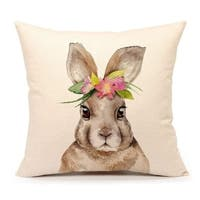Easter Rabbit Throw Pillow Case Cushion Cover 18 x 18 Inch (Bunny)