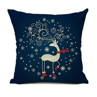 Christmas Blue Deer Cotton Linen Square Pillow Case Cushion Cover