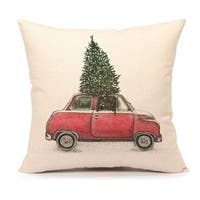 Christmas Tree and Red Car Pillow Cover Home Decorative Cushion Case