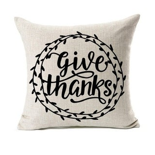 Give Thanks Thanksgiving Day Home Decor Cushion Cover 18 x 18 Inch
