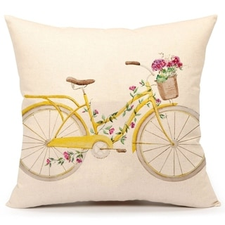 Yellow Bicycle Pillow Cover Vintage Home Cushion Case 18 x 18 Inch