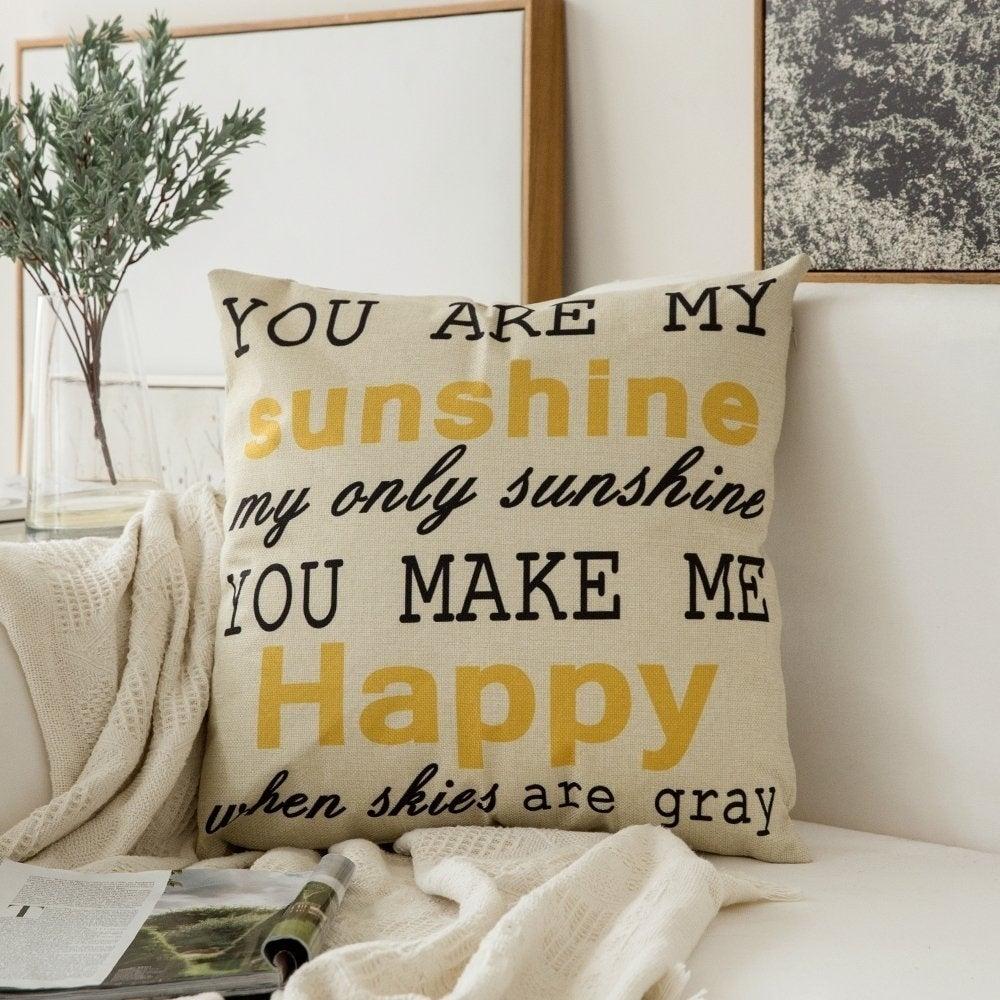 Cotton Linen You Are My Sunshine Home Decor Throw Pillow Case Sofa Cushion Cover