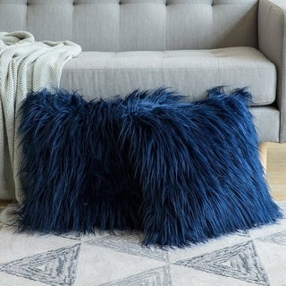 Luxury Series Style Dark Blue Faux Fur Throw Pillow Case Cushion Cover
