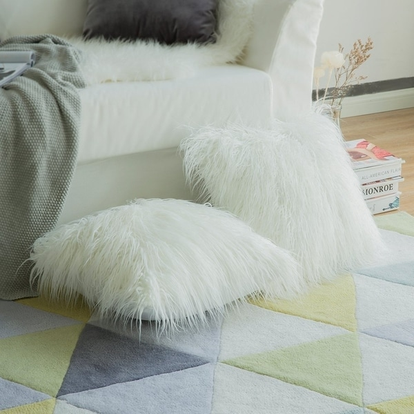 Shop New Luxury Series Style White Faux Fur Throw Pillow