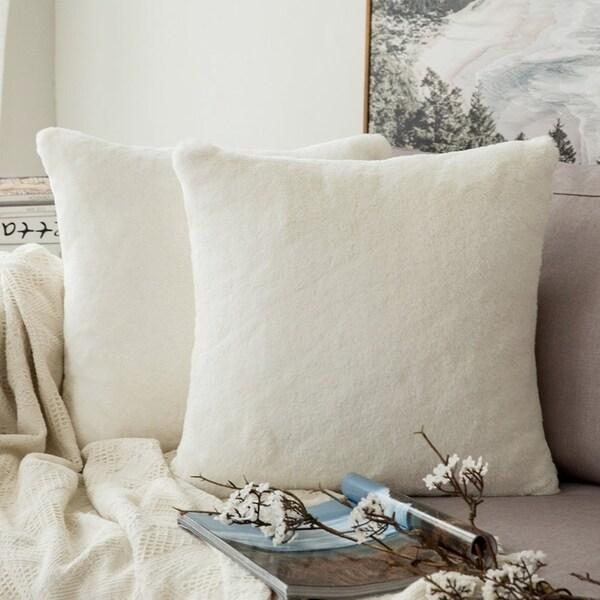 Very Soft Christmas Faux Rabbit Fur Throw Pillow Case Cushion Cover