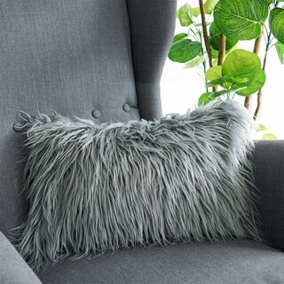Luxury Soft Decorative Mongolian Fur Throw Pillow Covers, (GREY)