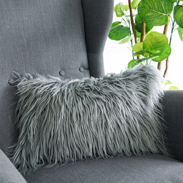 Luxury Soft Decorative Mongolian Fur Throw Pillow Covers, (GREY)