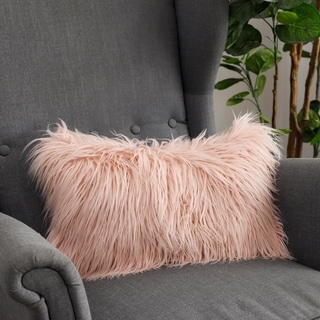 Soft Couch Decorative Mongolian Fur Throw Pillow Covers, (PINK)