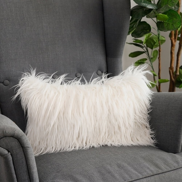 Soft Couch Decorative Mongolian Fur Throw Pillow Covers (WHITE)