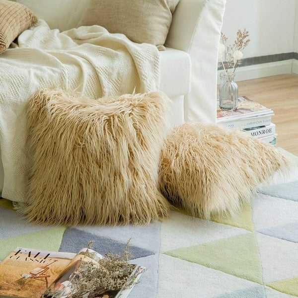 Shop Luxury Series Style Brown Faux Fur Throw Pillow Case