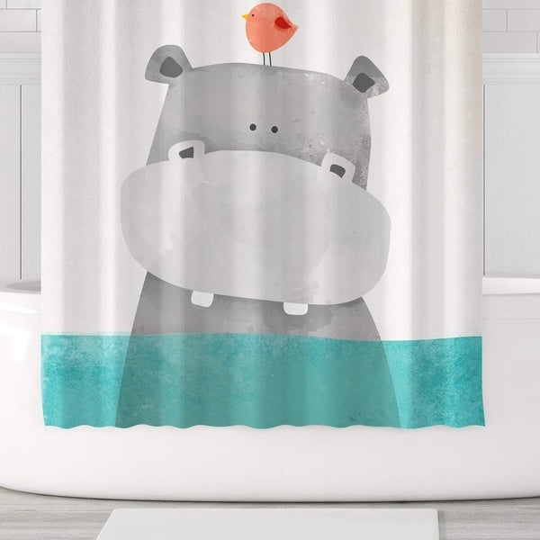 Cute Hippo Shower Curtain Polyester Fabric With Hooks 71x71 Green Grey