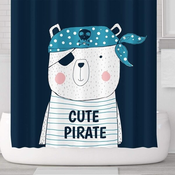 Cute Pirate Bear Waterproof Shower Curtains With Hooks 71u0026#x27 ...