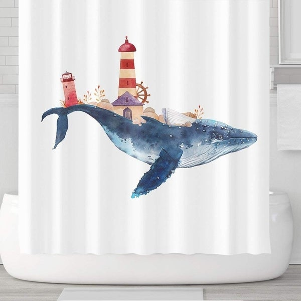 Whale And Lighthouse Shower Curtain With Hooks 71x71 Blue