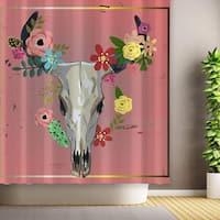 Bull Skull with Flowers Shower Curtain, Halloween Bathroom Decor