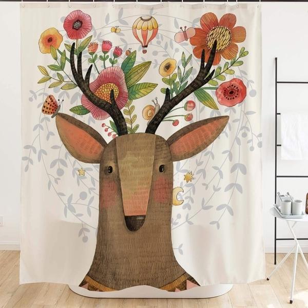 . Deer Horns Flower Decor Shower Curtain Set Bathroom Accessories 71x71