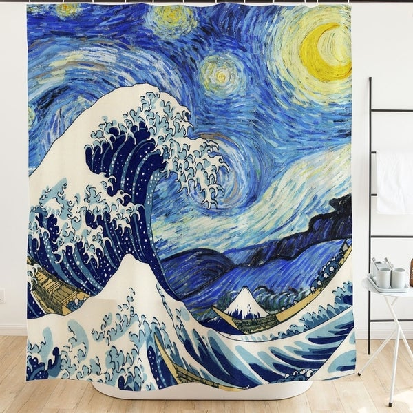 Shop Starry Night Japanese Sea Wave Painting Artistic Blue Shower Curtain