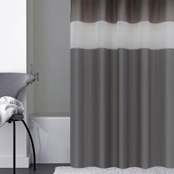 Shop Contemporary White Organza Top Shower Curtain
