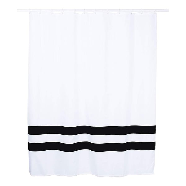Shop Mildew Free Shower Curtain 70x70 Inches White And Black Stripe