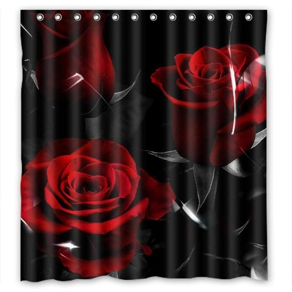 Rose Fashion Store Home: Shop Red Rose And Black Leaves Home Fashion Custom Fabric
