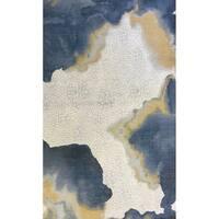 Unbelievable Mats 5' x 7'5 Oceans Polyester Rug - Grey/Navy blue/Mustard - 5' x 7.5'