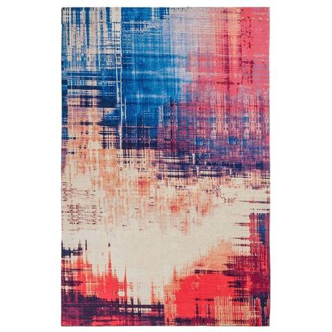 "Unbelievable Mats 20"" x 32"" Abstract Cotton Chenille Mulitpurpose Mat - Blue/Orange/Red - 20"" x 32"""