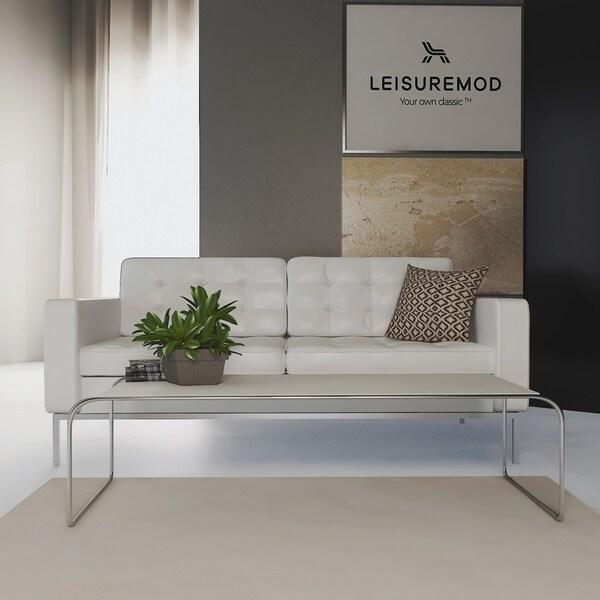 LeisureMod Malvern White Wooden Rectangle Coffee Table W/ Chrome Base