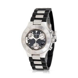 Pre-Owned Cartier Chronoscaph W10198U2 Women's Watch in Stainless Steel