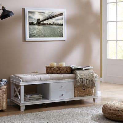 The Gray Barn Waggoner White Upholstered Storage Bench