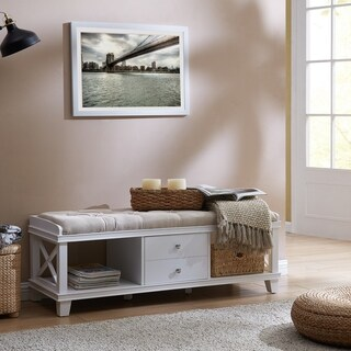 Harper Blvd Breezehill White Upholstered Storage Bench